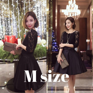 ワンピース ドレス パーティー サテン レース ブラック M(ミディアムドレス)