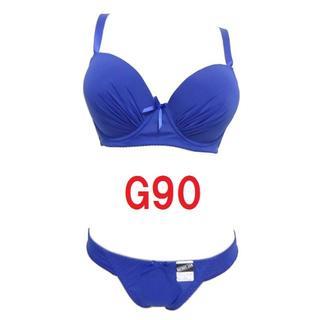 G90/3L・ネイビー◆シームレスブラジャー&ショーツ◆補正下着◆大きいサイズ(ブラ&ショーツセット)