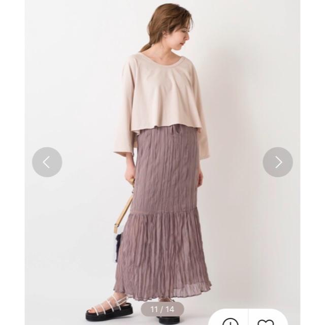 Kastane(カスタネ)のワッシャーシフォン無地スカート レディースのスカート(ロングスカート)の商品写真