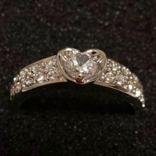 スワロフスキー(SWAROVSKI)のf43❇️ペチュニア❇️ ダイヤモンドキュービックジルコニア ハート リング (リング(指輪))