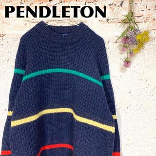 ペンドルトン(PENDLETON)のUSA製 ペンドルトン 厚手 ボーダー柄ニット 肉厚 セーター (ニット/セーター)