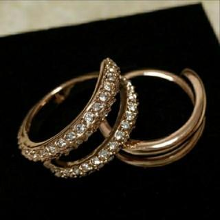 スワロフスキー(SWAROVSKI)のf64❇️モナルダ❇️豪華2連 ダイヤモンドキュービックジルコニア リング(リング(指輪))