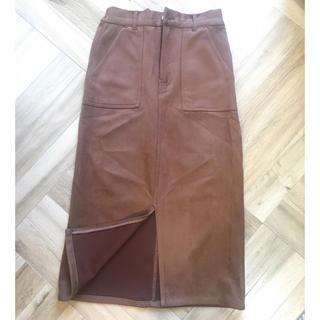 グレイル(GRL)のGRL スエードベイカータイトスカート ブラウン(ひざ丈スカート)