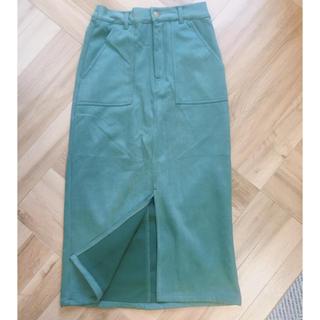 グレイル(GRL)のGRL スエードベイカータイトスカート グリーン(ひざ丈スカート)