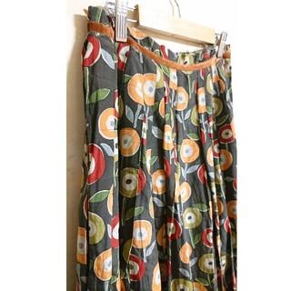 レトロ 古着 シルク混花柄スカート(ひざ丈スカート)