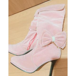 ピンクベロアリボンブーツS(ブーツ)