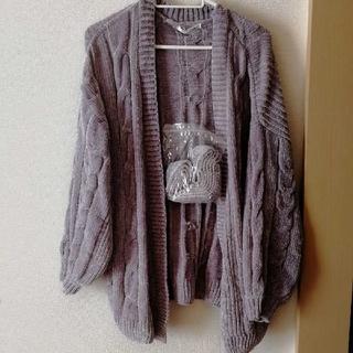 しまむら - モールニット カーディガン ラベンダー 薄紫色