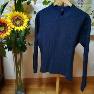 ギャップ(GAP)の✨GAP ギャップ セーター 長袖 ウール100% Vネック 紺色LL♪(ニット/セーター)