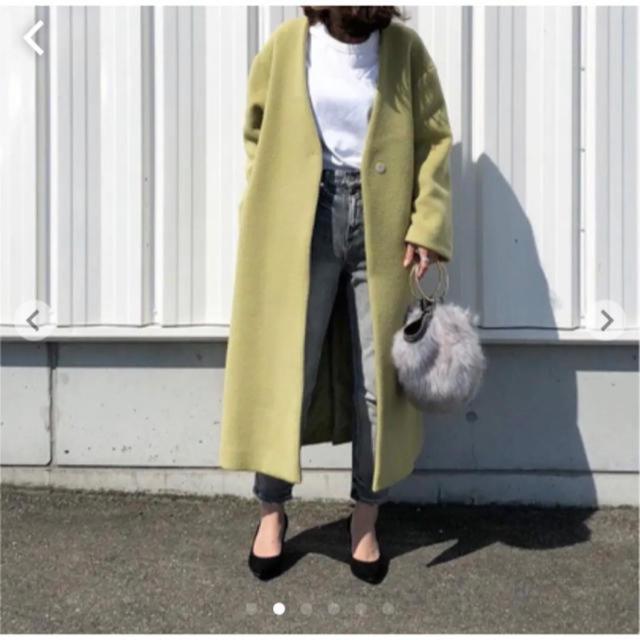 FRAY I.D(フレイアイディー)のジロンラムノーカラーコート レディースのジャケット/アウター(ロングコート)の商品写真