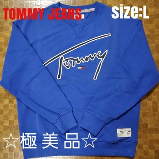 TOMMY HILFIGER - ●極美品● TOMMY JEANS ドロップショルダー スウェット BLE/L