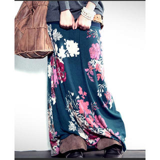 antiqua - アンティカ  2wayアート柄ロングスカート