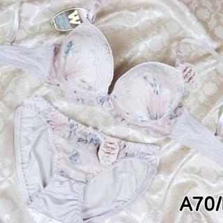 030★A70 M★美胸ブラ ショーツ Wパッド 花プリント 薄紫(ブラ&ショーツセット)