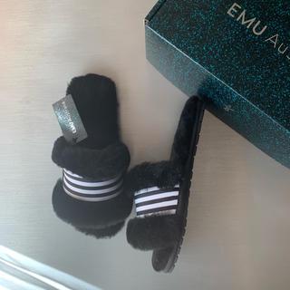EMU - ★新品未使用★ EMU エミュー ライン ファー サンダル 37ブラック