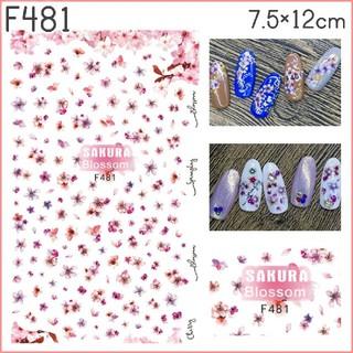 F481◇ネイルシール 花 フラワー 桜 ピンク 花びら 春(ネイル用品)