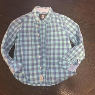 エイチアンドエム(H&M)のH&M グリーン系チェック柄シャツ 130cm(ブラウス)