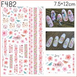 F482◇ネイルシール 花 フラワー 桜 ピンク 花びら 春 鳥 ウグイス (ネイル用品)