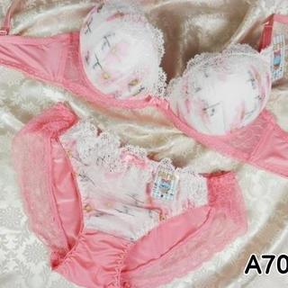 037★A70 M★美胸ブラ ショーツ Wパッド コスモス レース ピンク(ブラ&ショーツセット)