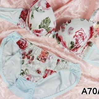 048★A70 M★美胸ブラ ショーツ 谷間メイク ローズプリント 水色(ブラ&ショーツセット)