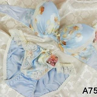 062★A75 M★美胸ブラ ショーツ Wパッド フラワープリント 水色(ブラ&ショーツセット)