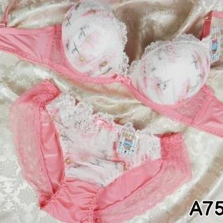 073★A75 M★美胸ブラ ショーツ Wパッド コスモス レース ピンク(ブラ&ショーツセット)