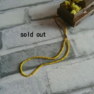 フォーティーファイブアールピーエム(45rpm)のカンガーの旅 ふぞろいなイエロービーズとインドの真鍮ネックレス(ネックレス)