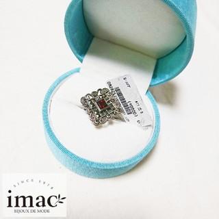 【新品タグ付き】imac イマック ガーネットシルバーリング 指輪 11号(リング(指輪))