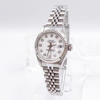 ロレックス(ROLEX)の【保証書付】ロレックス 10P 新ダイヤ ホワイト文字盤 レディース 腕時計(腕時計)