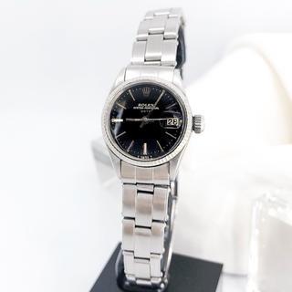 ロレックス(ROLEX)の【仕上済】ロレックス オイスター デイト 黒文字盤 シルバー レディース 時計(腕時計)
