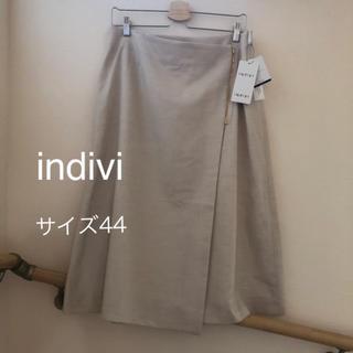 インディヴィ(INDIVI)のindivi 44 xl 新品 フラッカーサ ラップ風スカート 大きいサイズ(ひざ丈スカート)