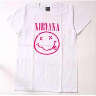 ニルヴァーナ Tシャツ ニコちゃん ピンク L ホワイト ニルバーナ(Tシャツ(半袖/袖なし))