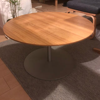 ムジルシリョウヒン(MUJI (無印良品))の無印良品 ラウンド コーヒーテーブル センターテーブル タモ材(ローテーブル)