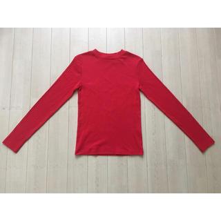 ジーユー(GU)の【送料込】GU リブハイネックT(長袖)《レッド》(Tシャツ(長袖/七分))