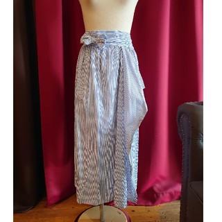 アンティカ(antiqua)のU072 美品 antiqua ラップスカート ロング ブルーストライプ (ロングスカート)