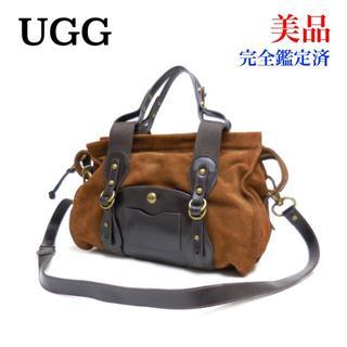 アグ(UGG)の美品 UGG アグ スエード 2WAY ハンドバッグ 茶 ブラウン レザー(ハンドバッグ)