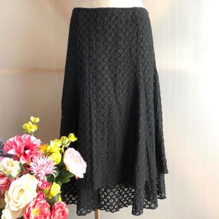 コムサデモード(COMME CA DU MODE)の【COMME ÇA DU MODE jersey】ティアードフレアスカート 黒(ロングスカート)