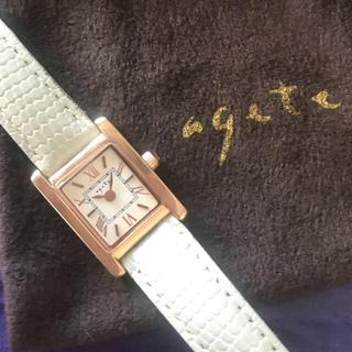 アガット(agete)のなほなほ様用★アガット★腕時計★ダイヤ1P★タンクタイプ★ユーズド美品(腕時計)