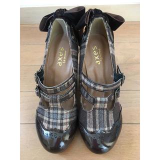 アクシーズファム(axes femme)の新品★axes♪ 後ろベロアリボン薔薇モチーフチェック柄パンプス M23.5 靴(ハイヒール/パンプス)