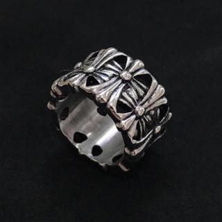 高品質STAINLESS STEEL クロスラウンドリング 十字架(リング(指輪))