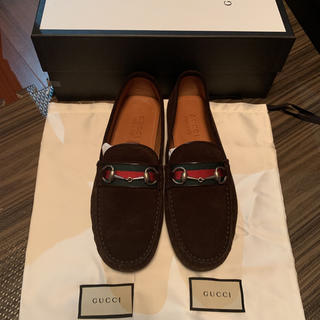Gucci - GUCCI Suede driver with Web 9 ビット ローファー