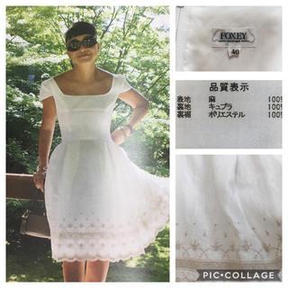 FOXEY - 【美品】FOXEY フォクシー 掲載 ドレス刺繍 ワンピース ホワイト 38