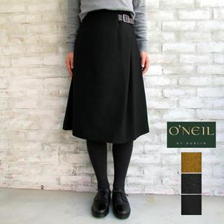 オニール(O'NEILL)のオニールオブダブリン バックルスカート 黒(ひざ丈スカート)