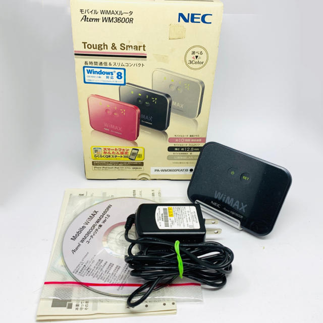NEC(エヌイーシー)の4E3 NEC Aterm WM3600R モバイルwi-fi ブラック  スマホ/家電/カメラのPC/タブレット(PC周辺機器)の商品写真