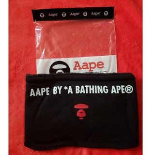 アベイシングエイプ(A BATHING APE)のAape ネックウォーマー黒(マフラー)