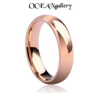 送料無料 25号 ピンクゴールド サージカルステンレス シンプル甲丸リング 指輪(リング(指輪))