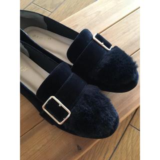 grove - ローファー 靴 ファー付き 黒