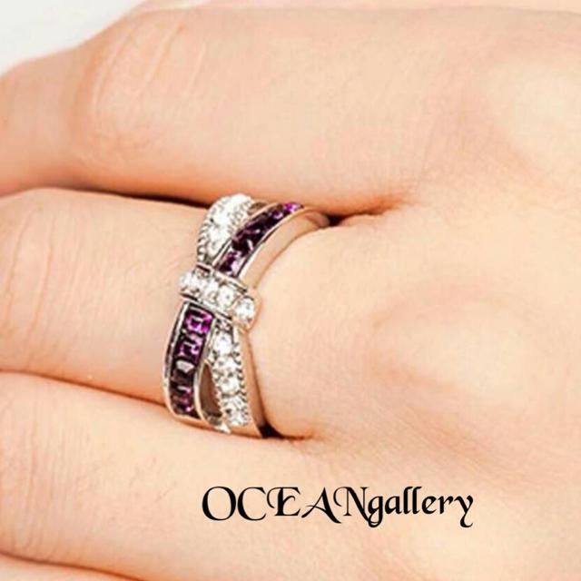 送料無料 17号 シルバーアメジストクリアスーパーCZ インフィニティリング指輪 レディースのアクセサリー(リング(指輪))の商品写真
