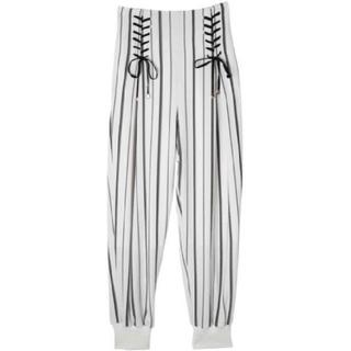 エイミーイストワール(eimy istoire)のエイミーイストワール レースアップ裾リブパンツ ホワイト M(カジュアルパンツ)