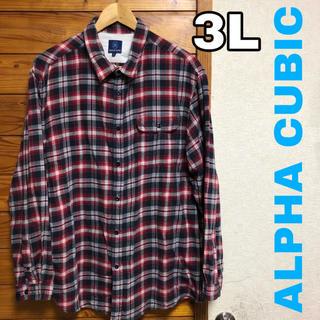 ALPHA CUBIC チェック ネルシャツ  ビックサイズ