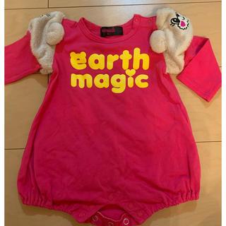 EARTHMAGIC - アースマジック 肩マフィー ロンパース 80