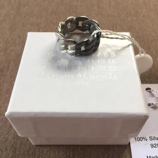 マルタンマルジェラ(Maison Martin Margiela)の19AW新品M マルジェラ ツートーン チェーンリング ブラック 今期(リング(指輪))